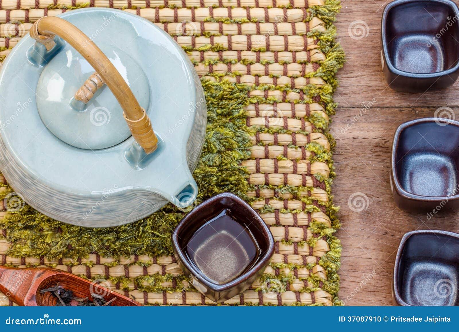 Download Filiżanka Herbata I Teapot Na Drewnianym Zdjęcie Stock - Obraz złożonej z fotografia, suchy: 37087910