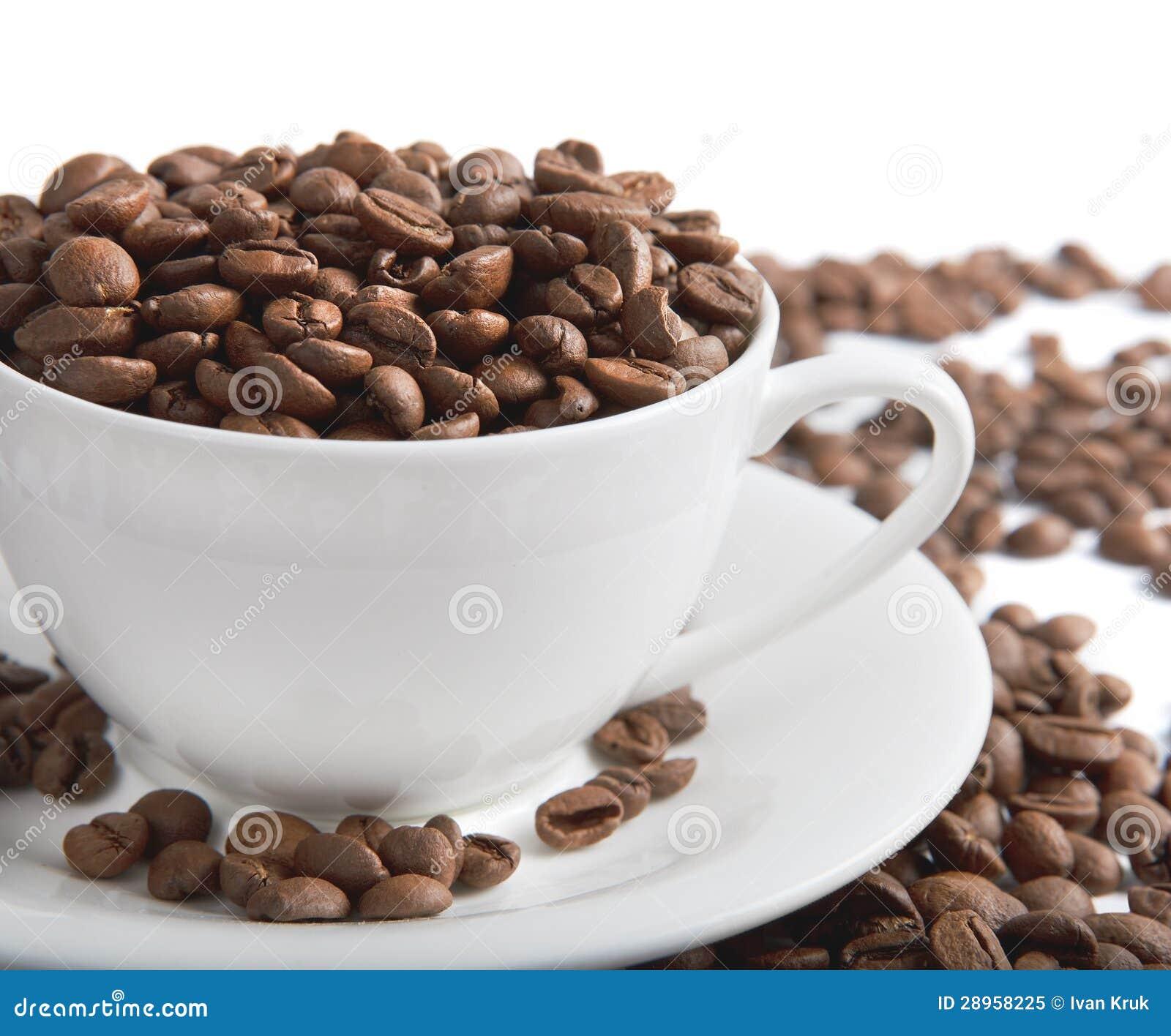 Filiżanka z kawowymi fasolami