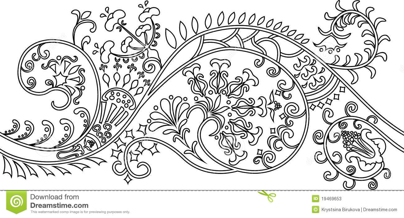 Filigree Flower Border. Stencil Stock Photos - Image: 19469653