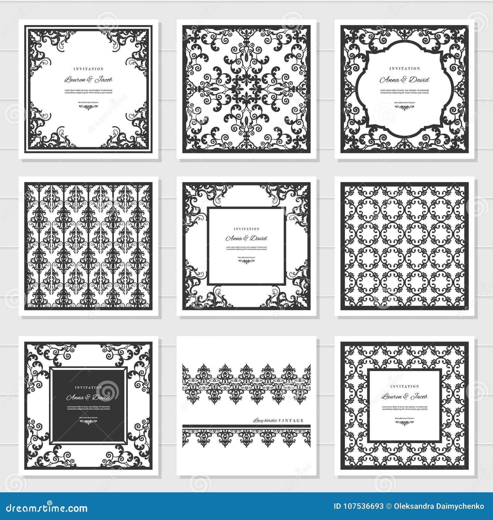 Filigree frames and decorative panels set laser cutting design filigree frames and decorative panels set laser cutting design wedding invitation damask vintage jeuxipadfo Gallery