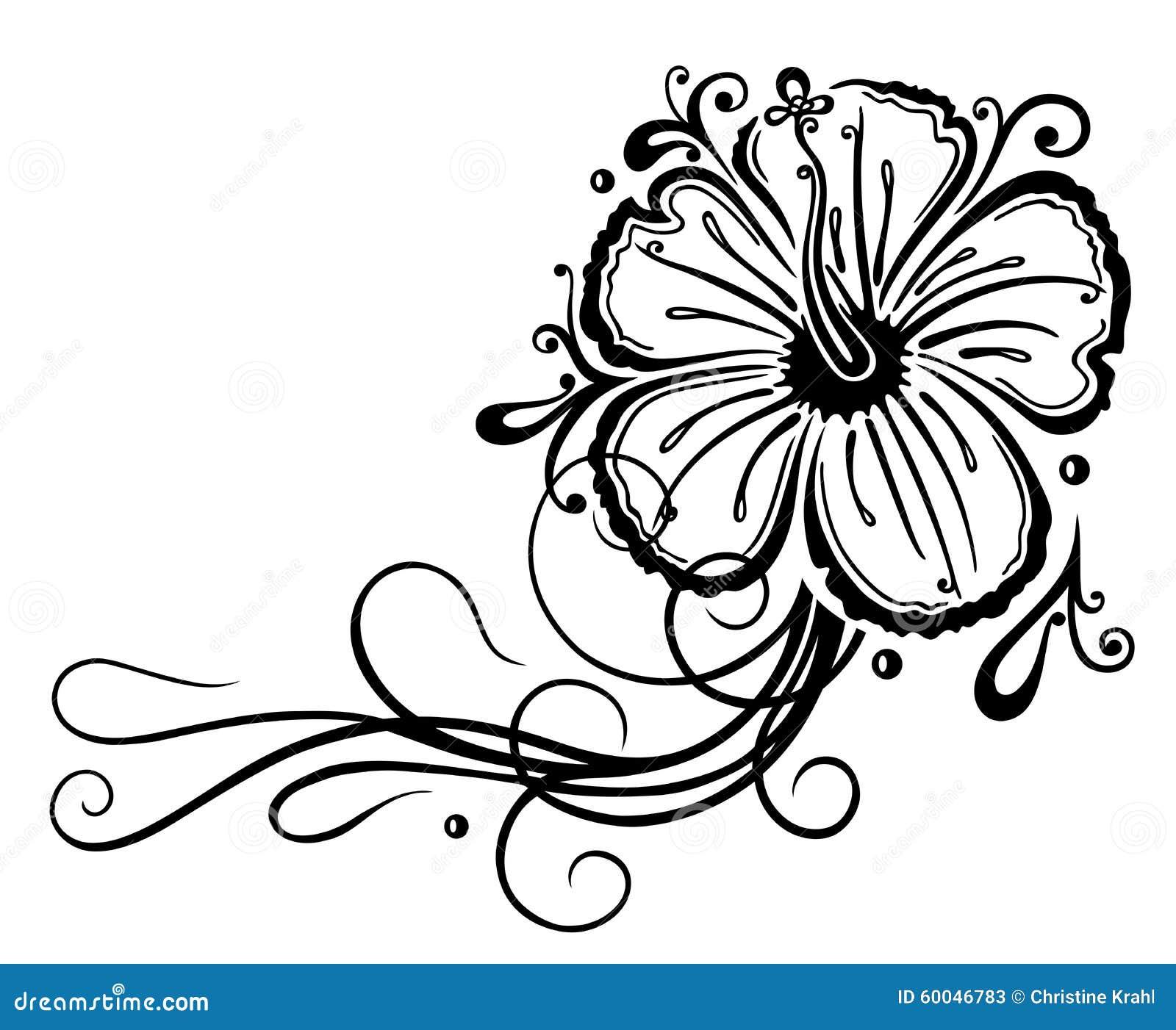 Filigree hibiscus stock vector image 60046783 for Hibiscus tribal tattoo