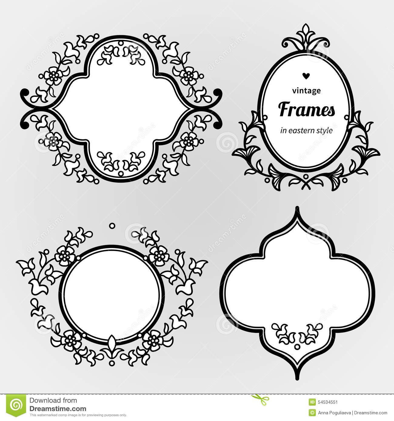 Line Art Text : Filigree line art frames in eastern style stock