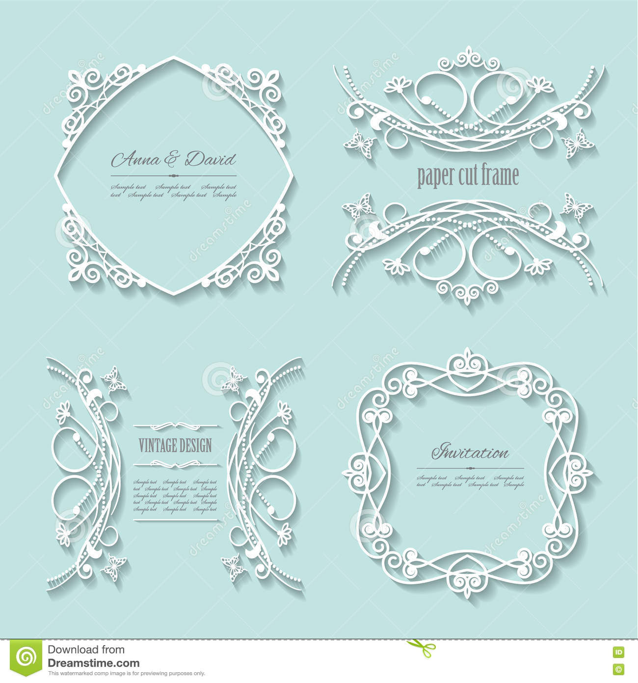 filigree paper cut frames with long shadows stock vector