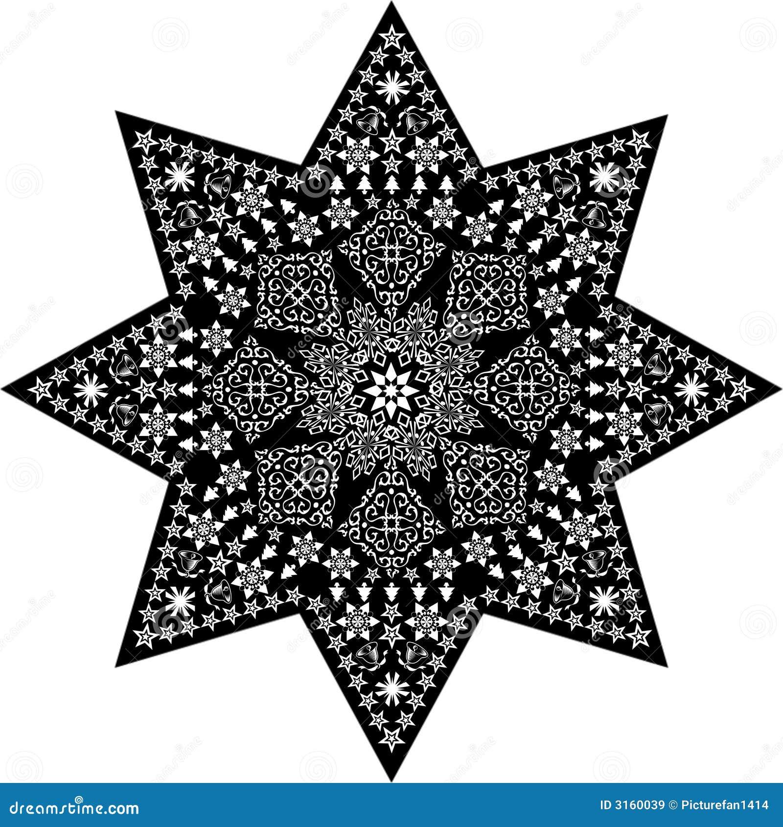 Filigree star white on black royalty free stock images