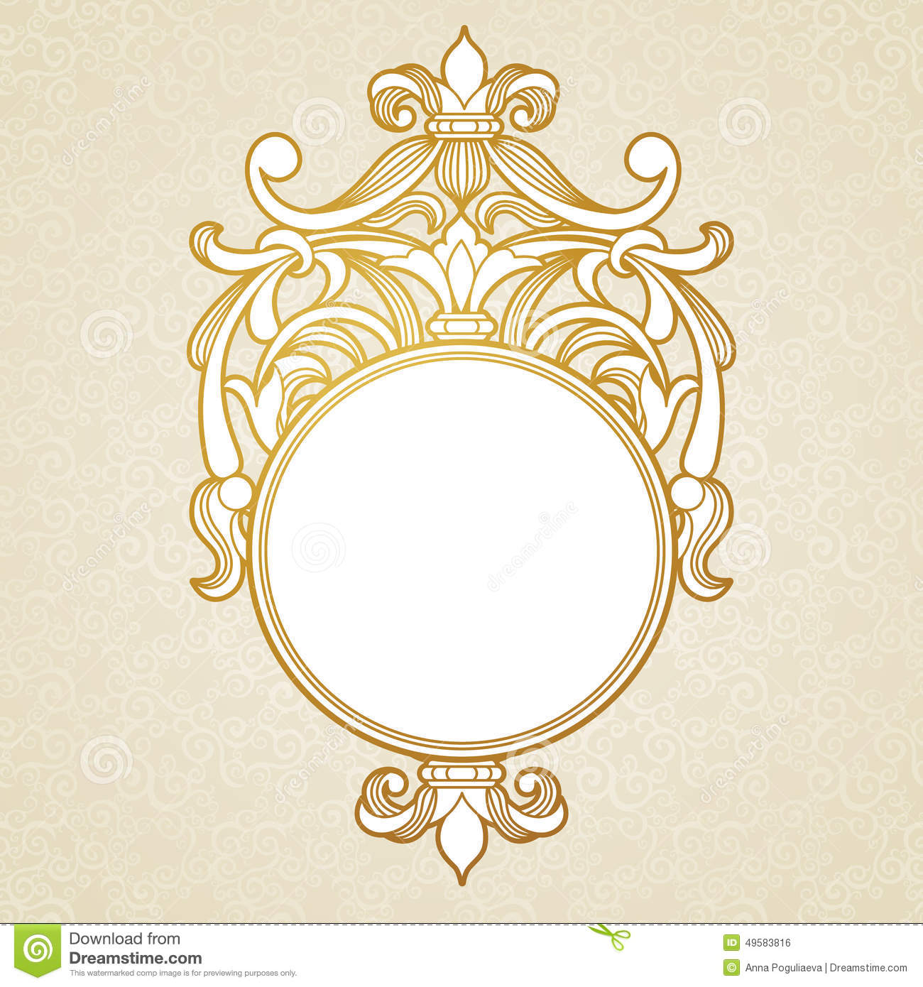 Filigree Vector Frame In Victorian Style Stock Vector