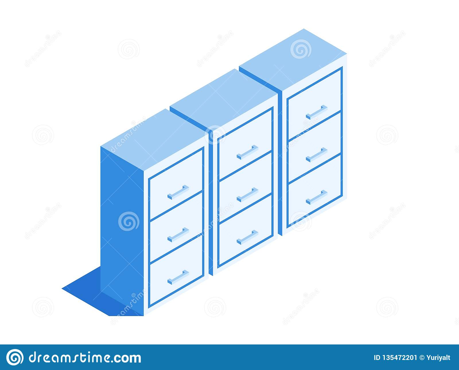 Filing cabinet, Archive of documents icon. Isometric template for web design in flat 3D style. Vector illustration