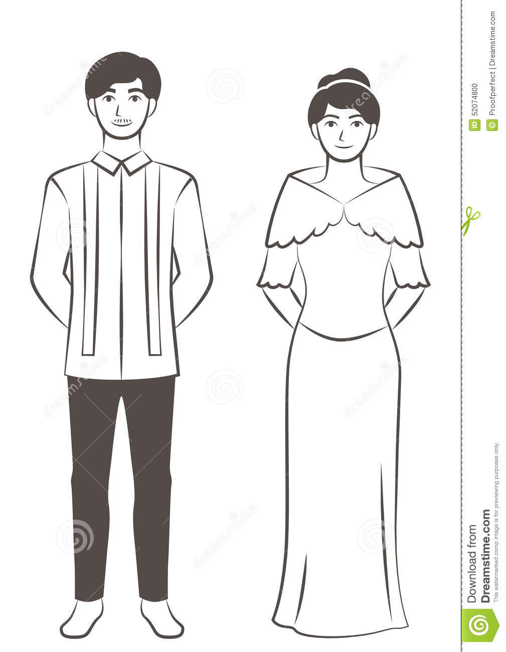 Philippines traditional clothing sheets coloring pages for Filipino coloring pages