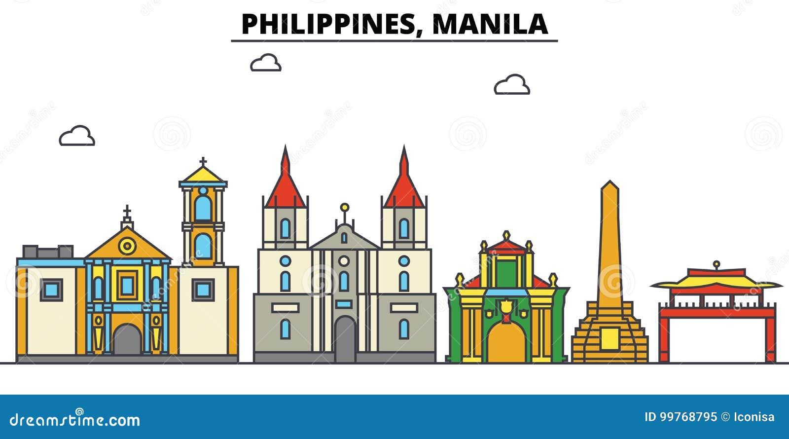 Filippijnen, Manilla De architectuur van de stadshorizon editable