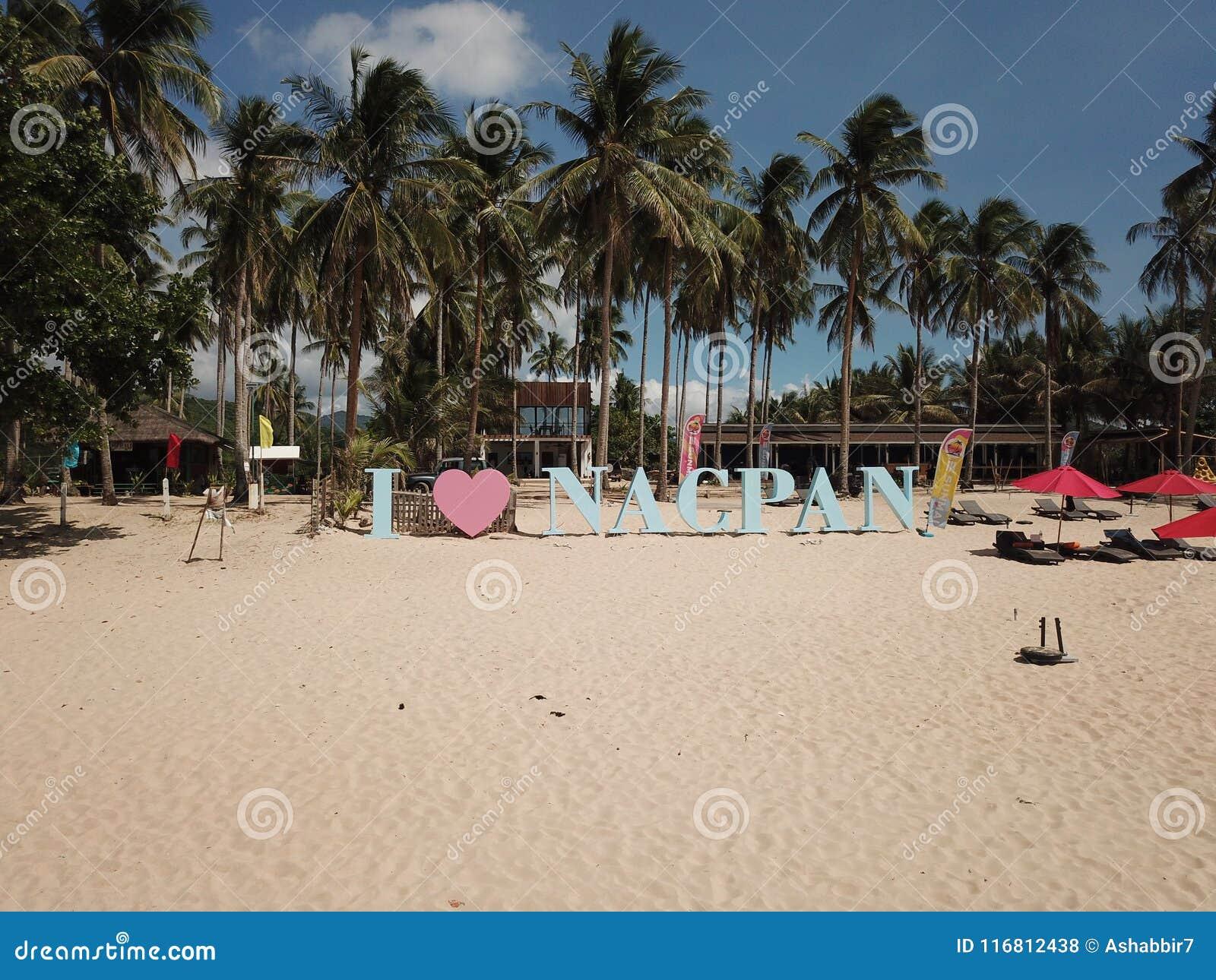 Filippine - segno della spiaggia di Nacpan