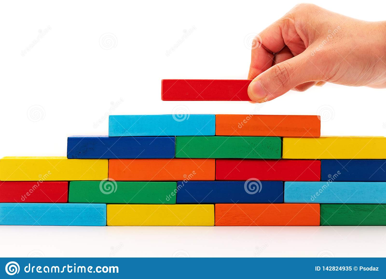 Fill In Business Solutions Concept A Piece Of Wooden Block Puzzle
