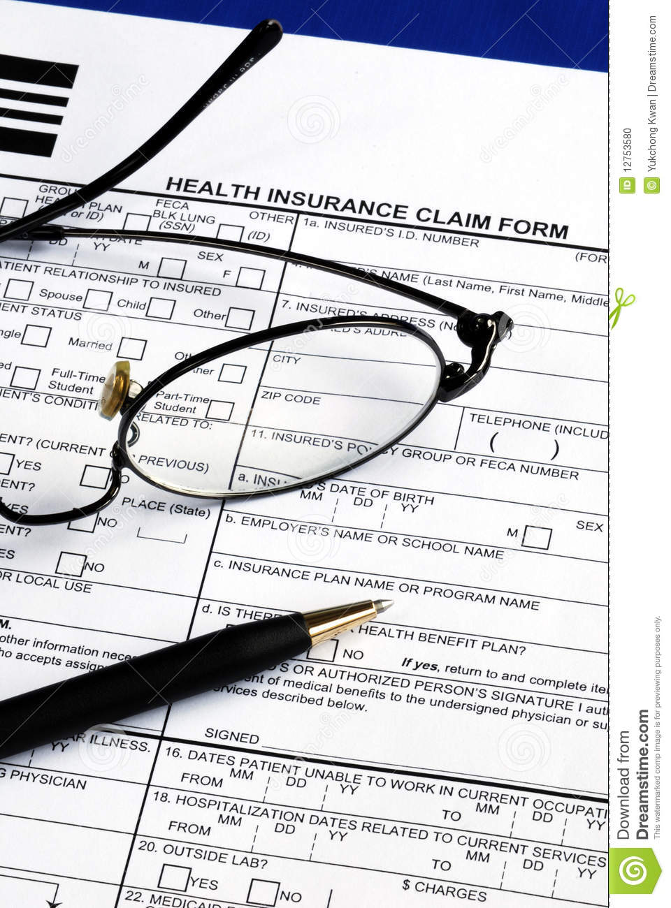 Fill The Health Insurance Claim Form Stock Photo - Image ...