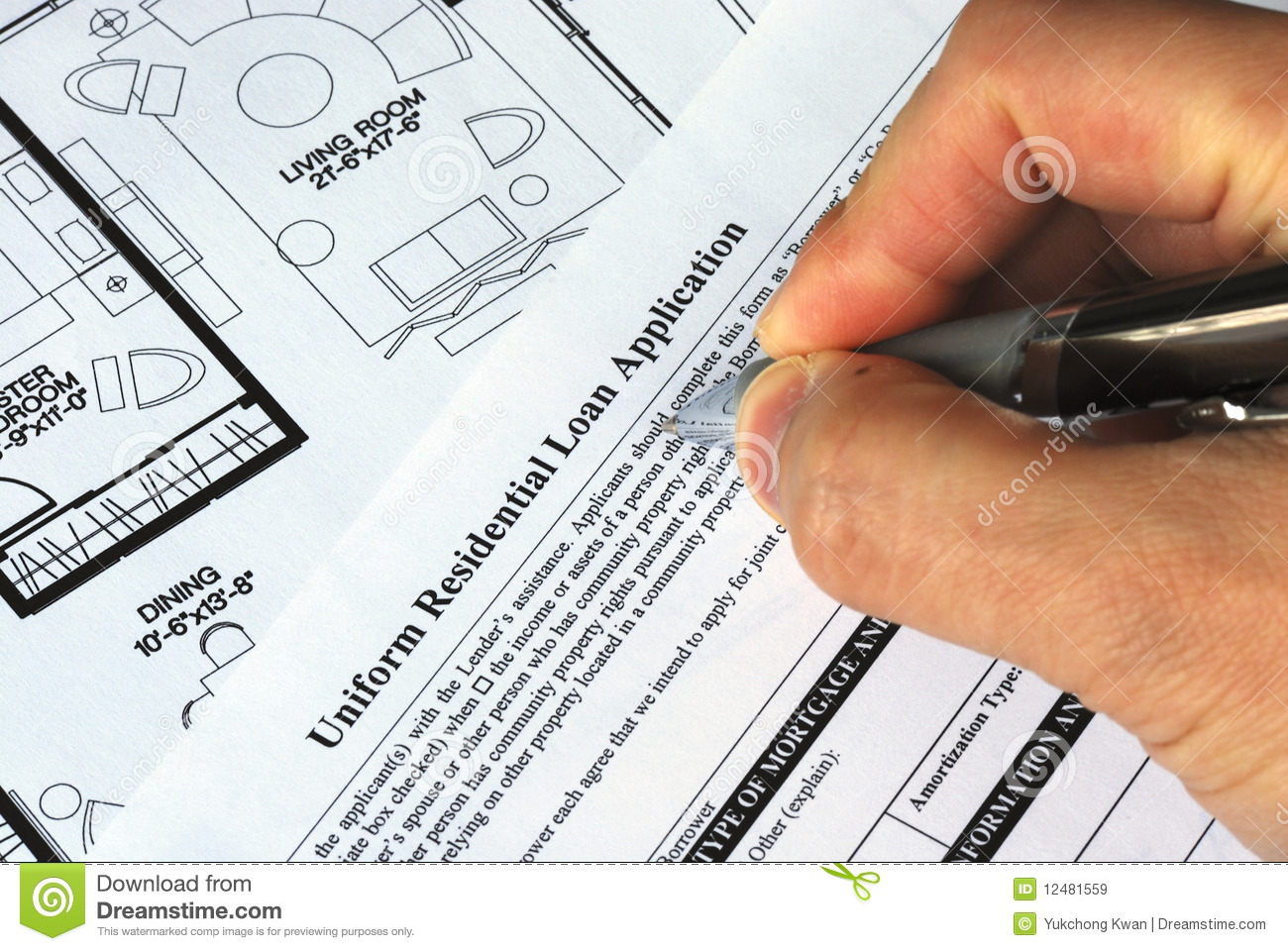 Fill in the mortgage application royalty free stock images Mortgage to buy land