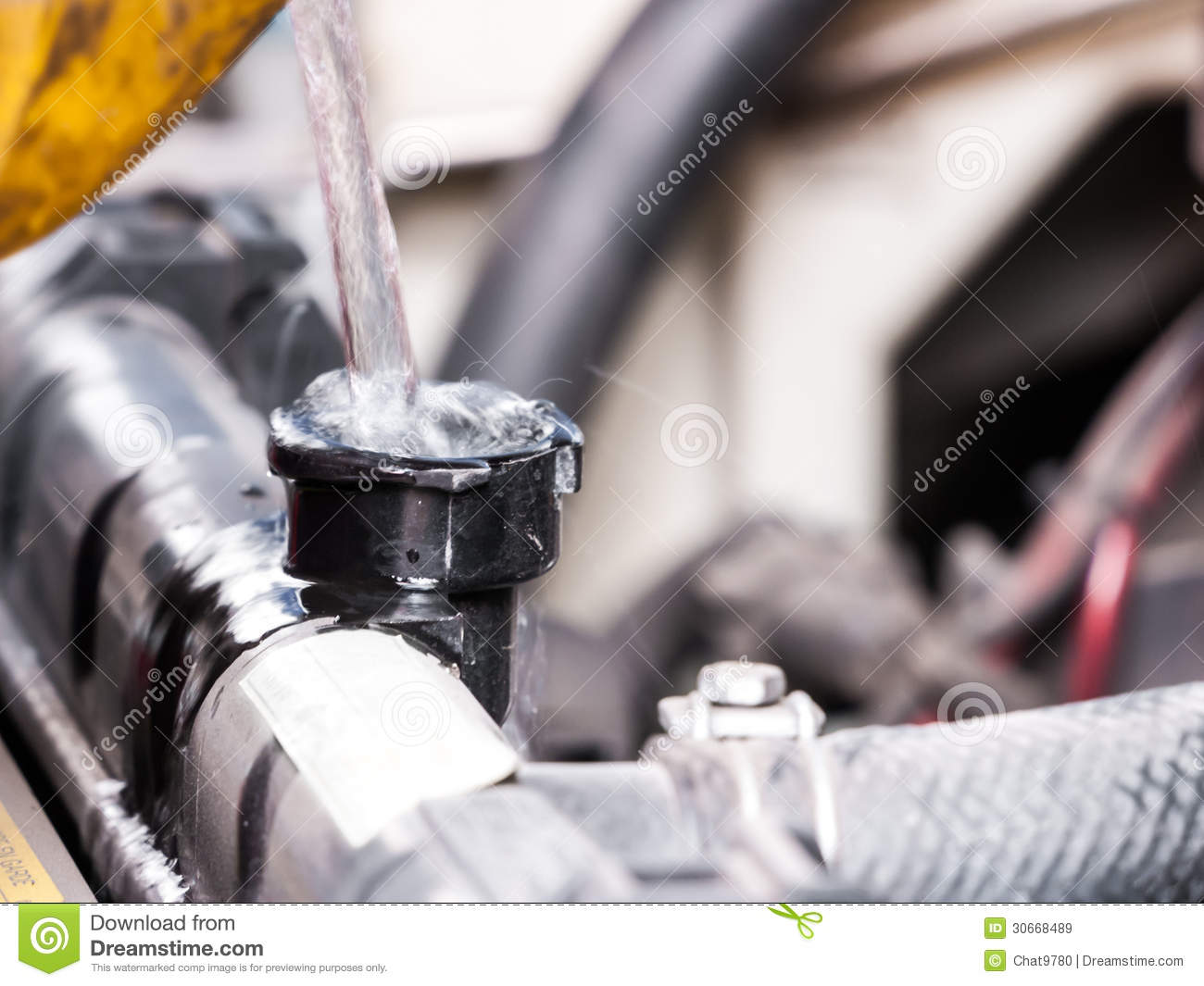 Fill Up Water Into Car Radiator Stock Image - Image of open