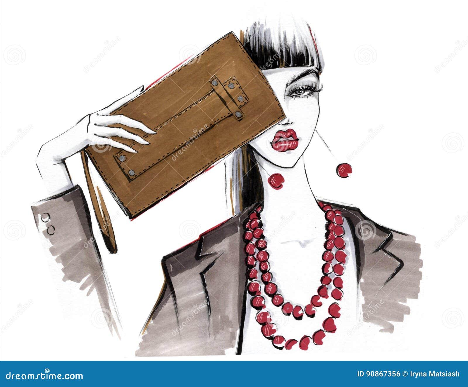 Fille à la mode avec un sac à main