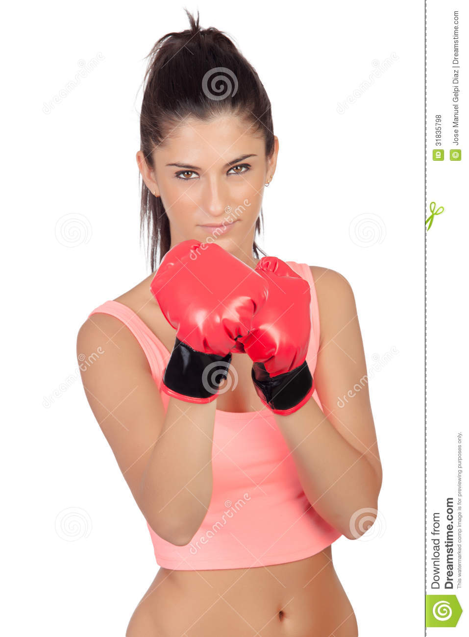fille attirante avec des gants de boxe photo stock image. Black Bedroom Furniture Sets. Home Design Ideas