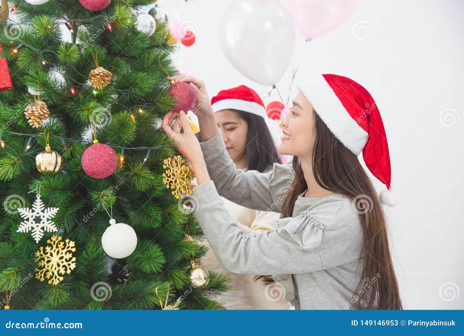 Fille avec l ami décorant l arbre de Noël à la maison