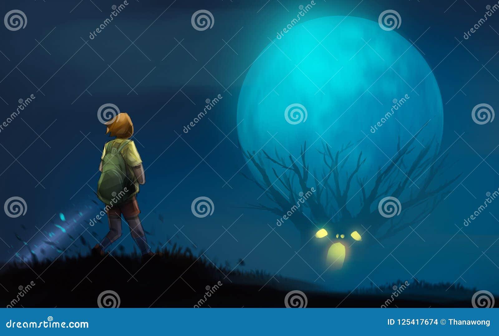 Fille avec la lampe-torche se tenant sur le regard de colline à aux arbres effrayants
