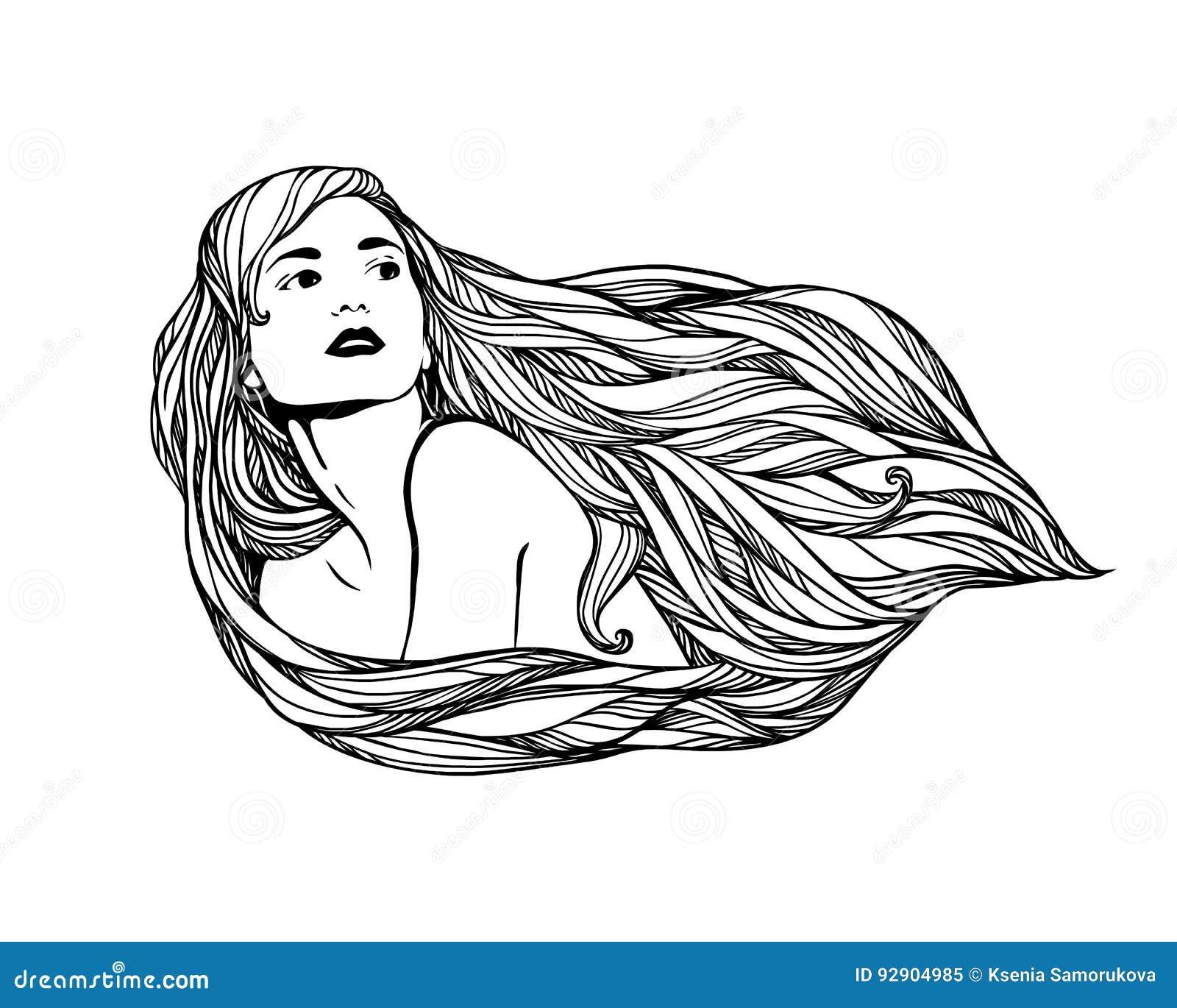Fille avec le long cheveu