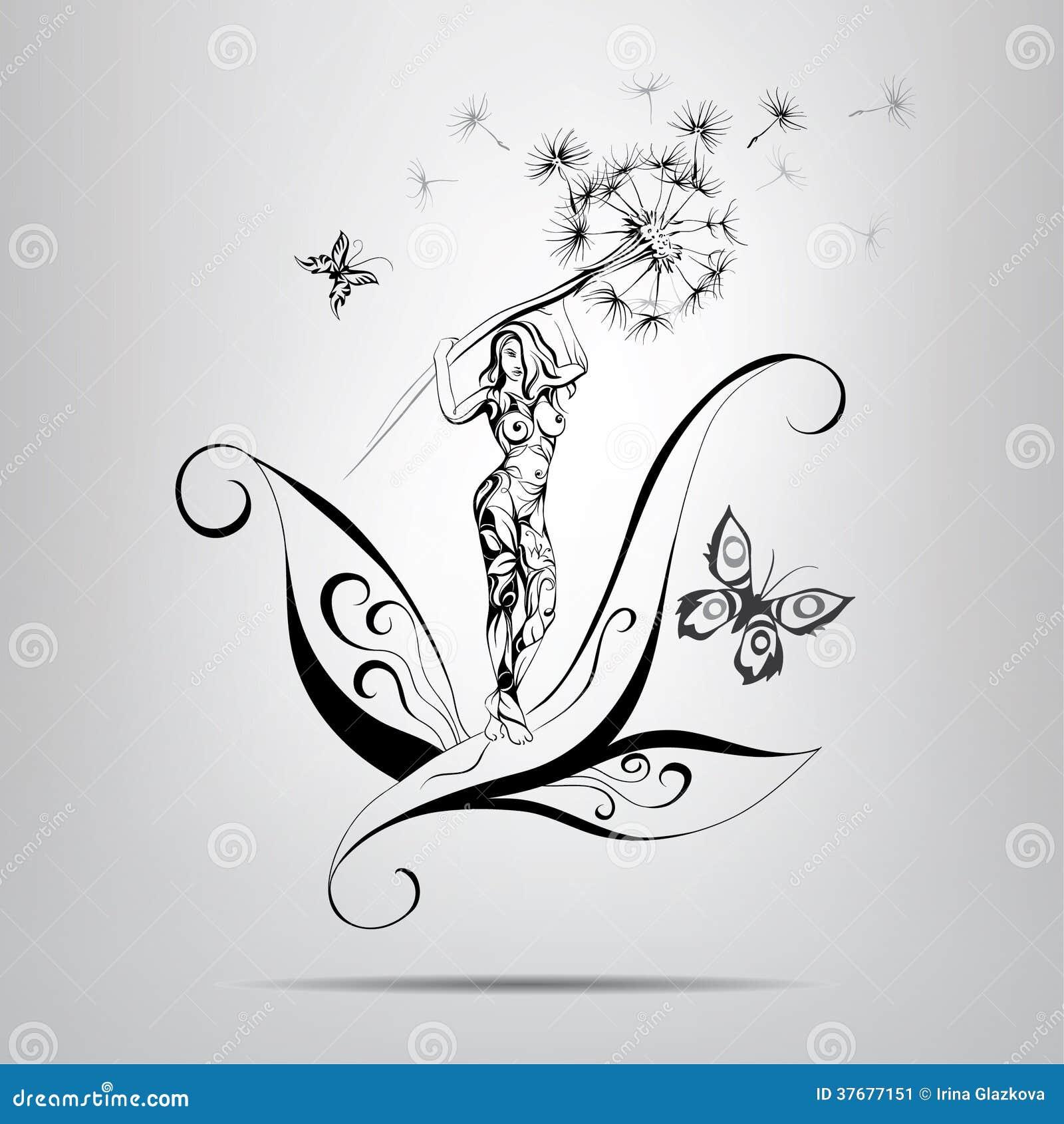 Fille avec le pissenlit illustration de vecteur image - Dessin fleur pissenlit ...