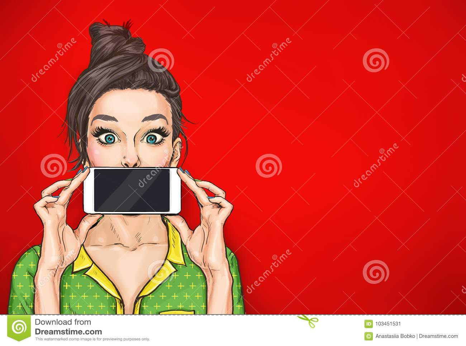 Fille avec le téléphone dans la main dans le style comique