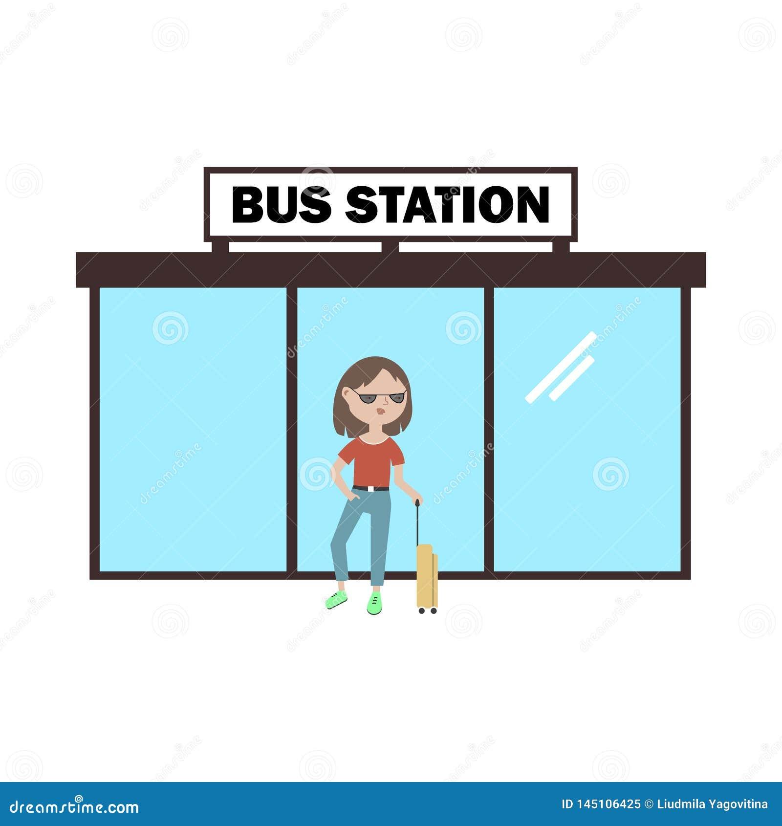 Fille avec une valise attendant l autobus à la gare routière