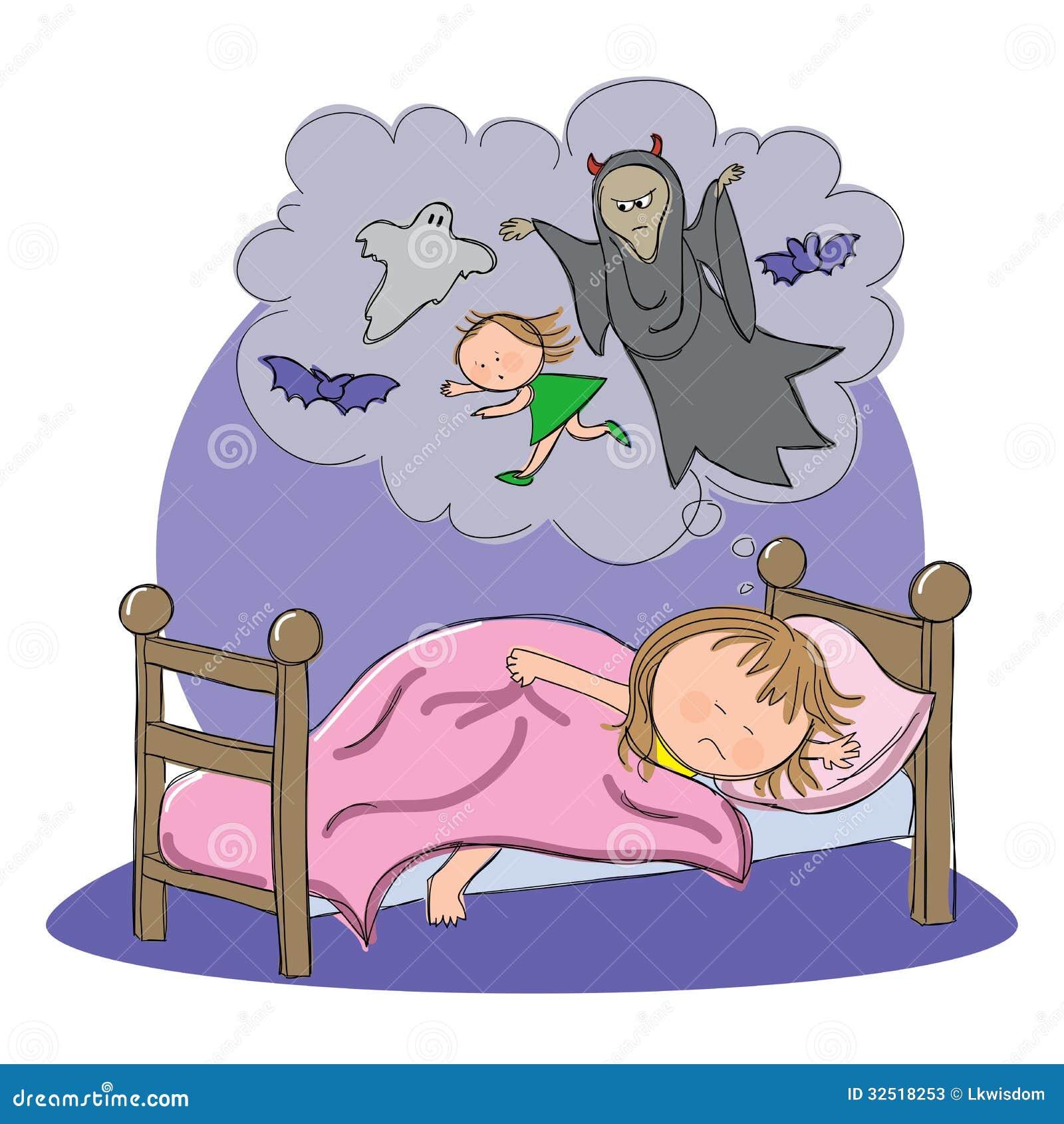 Fille ayant le cauchemar tout en dormant