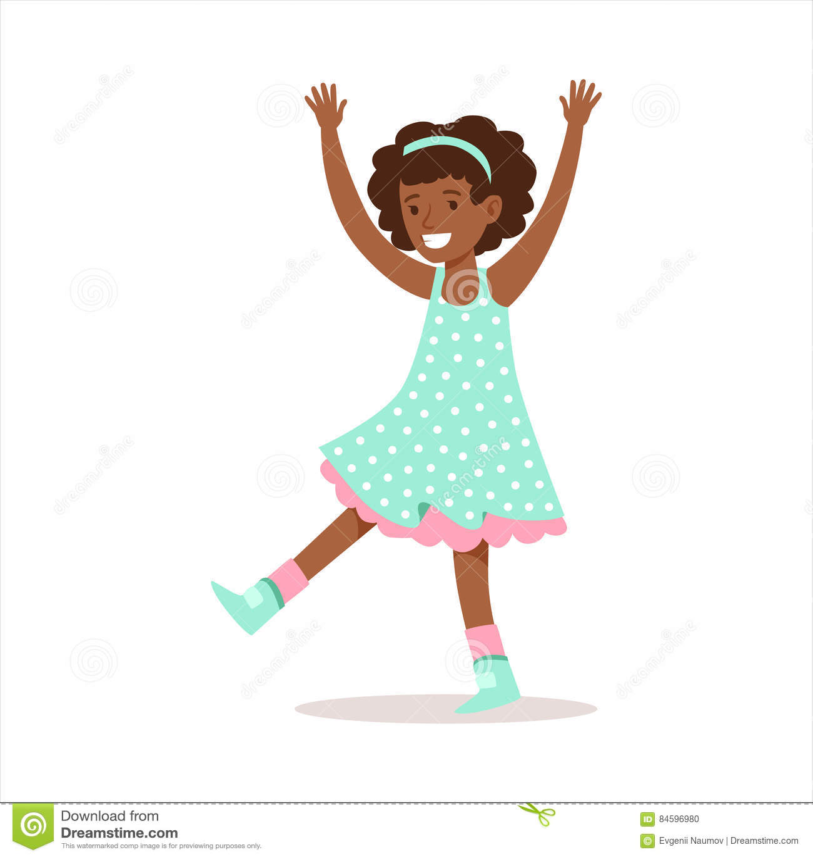 fille boucl e heureuse dans le personnage de dessin anim de sourire de robe pois girly. Black Bedroom Furniture Sets. Home Design Ideas
