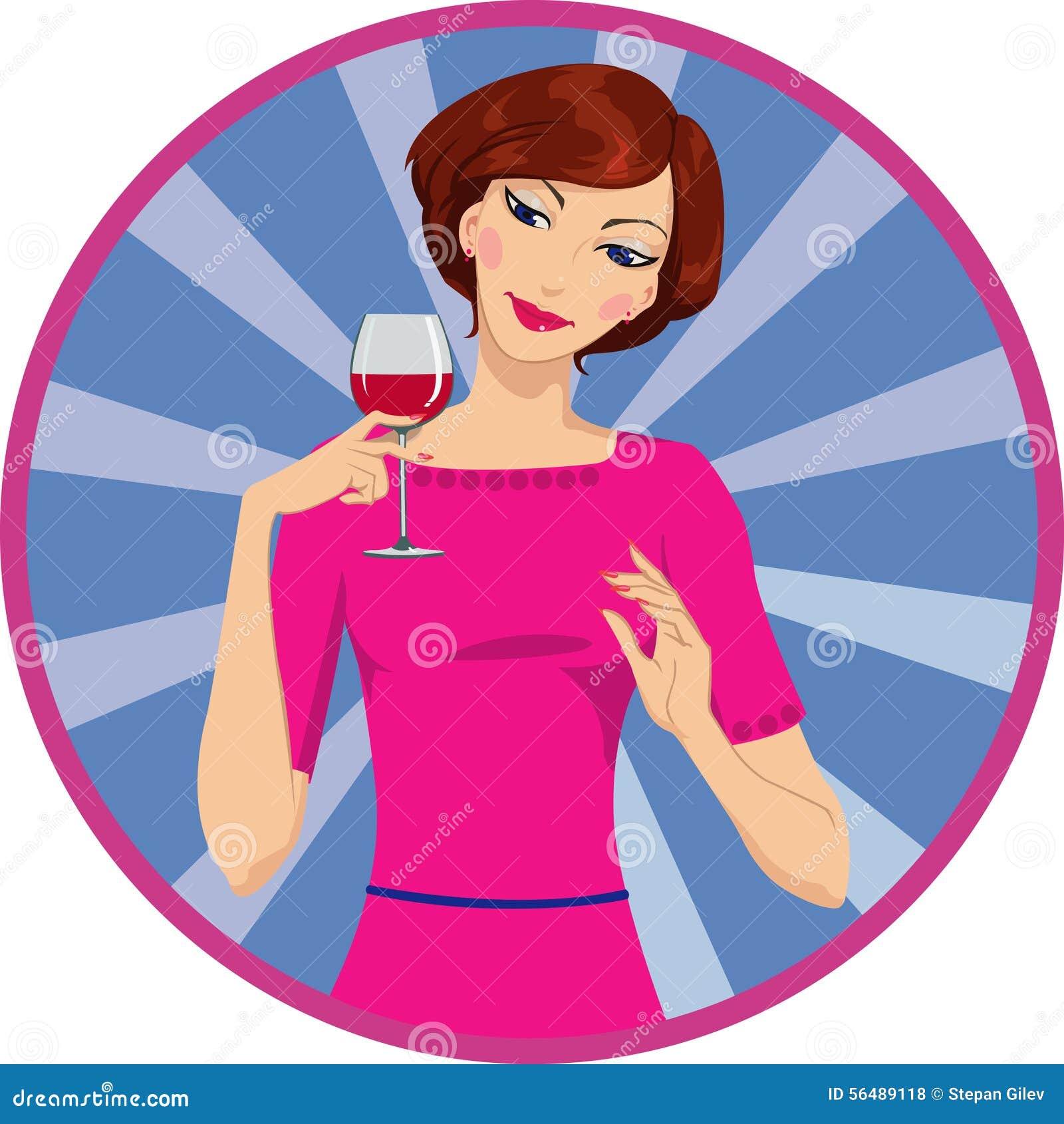 Fille buvant du vin rouge