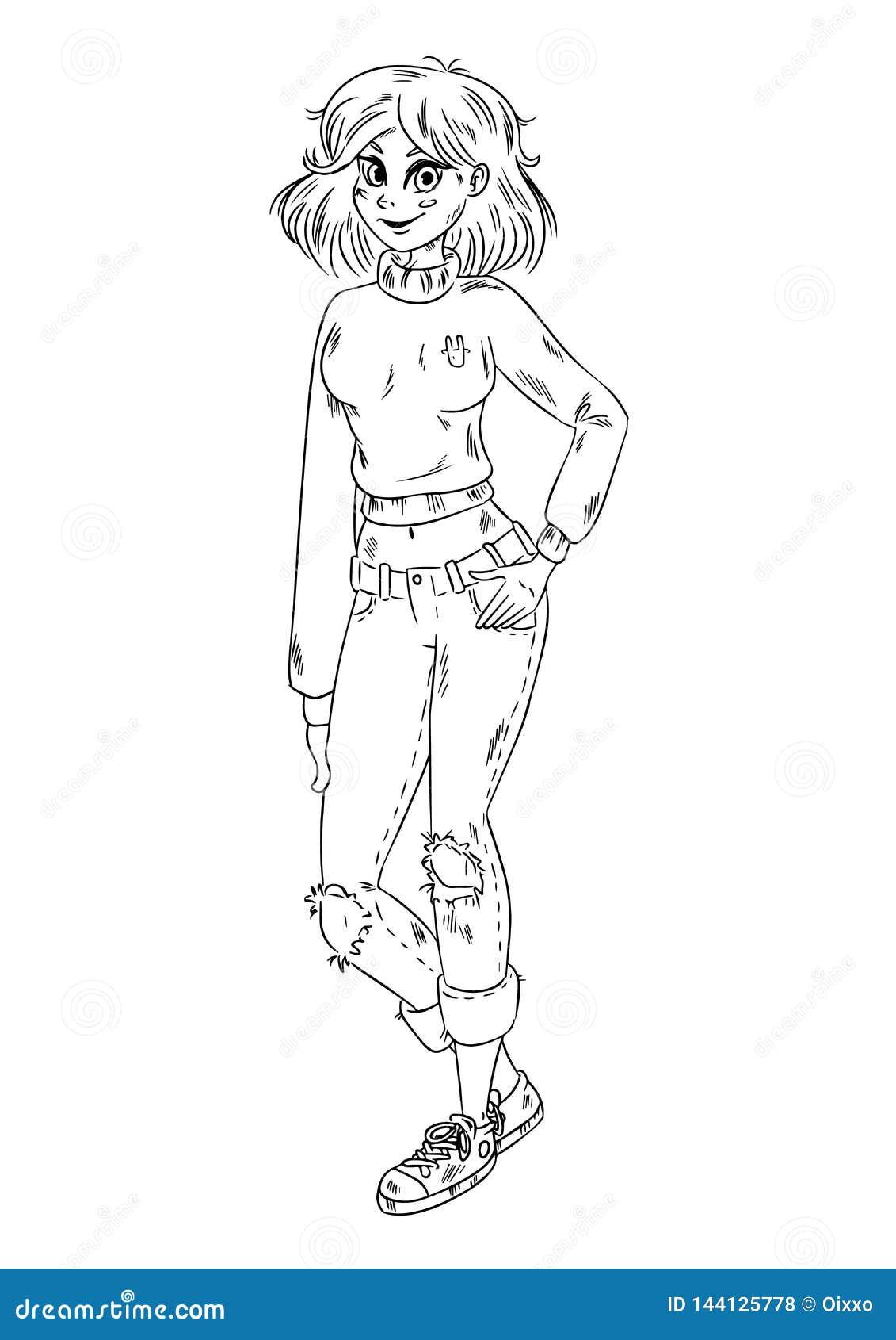 Fille comique mignonne d anime de style Image tirée par la main pour la coloration