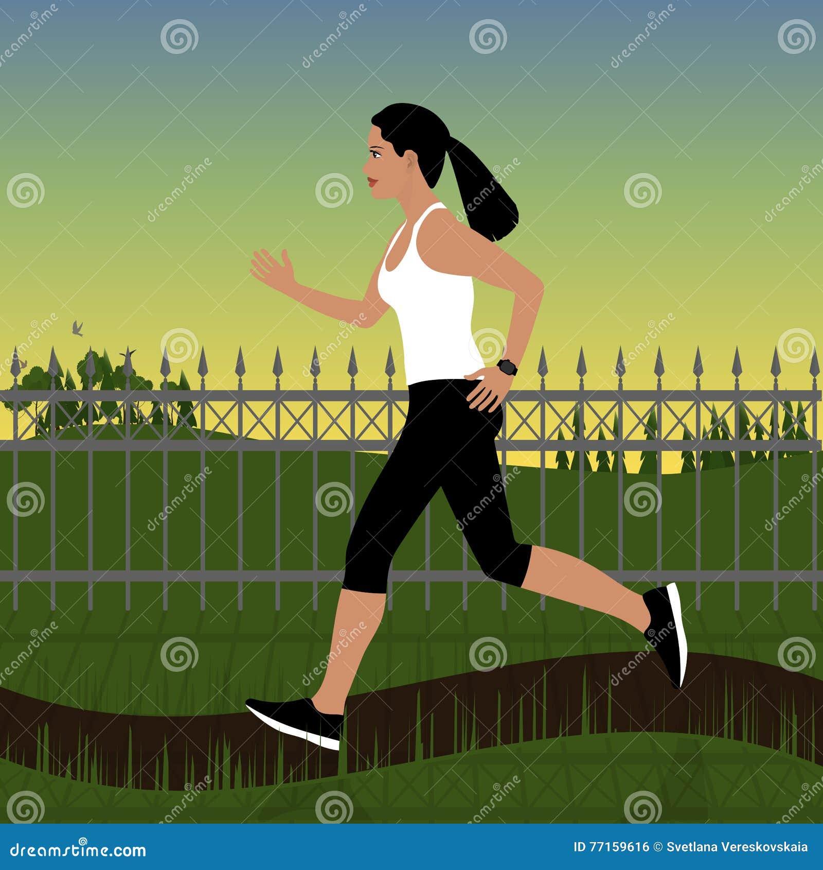 Fille courante dans les vêtements de sport sur un fond de paysage de forêt ou en parc au coucher du soleil Dans le fond il y a le