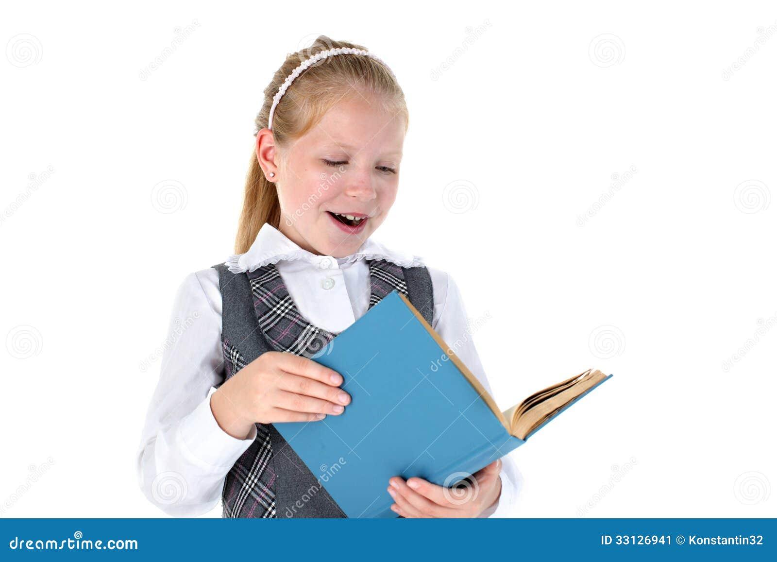 Fille D Ecole De 8 Ans Avec Le Livre Image Stock Image Du