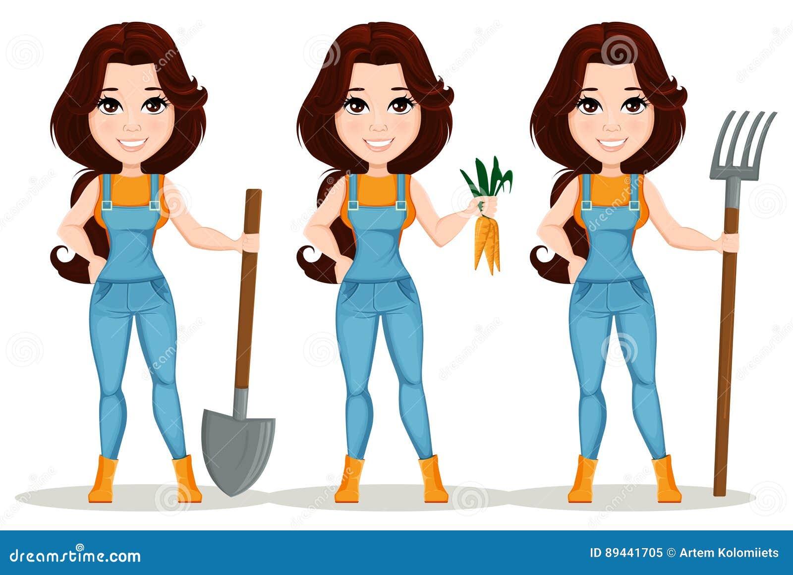 fille d 39 agriculteur habill e dans la salopette de travail positionnement personnage de dessin. Black Bedroom Furniture Sets. Home Design Ideas