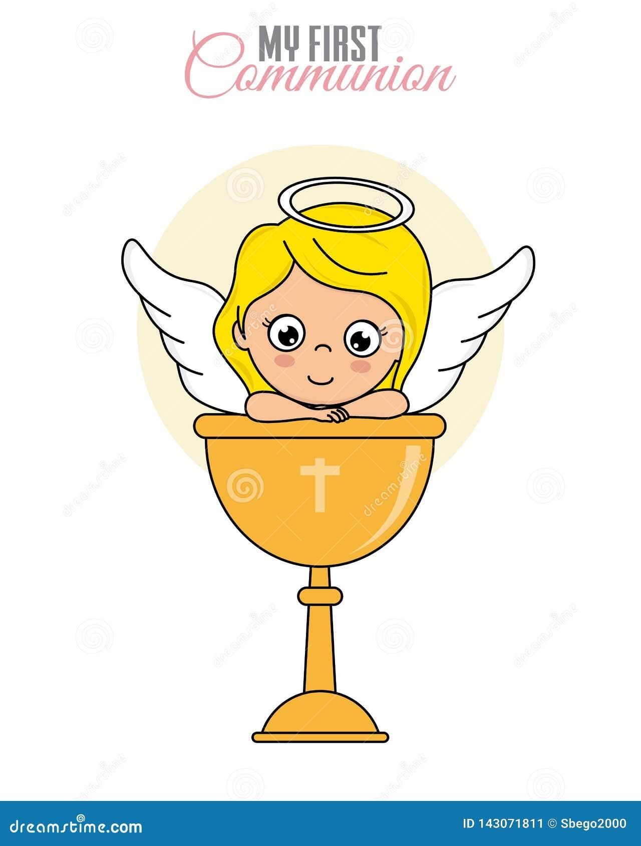 Fille d ange avec le calice