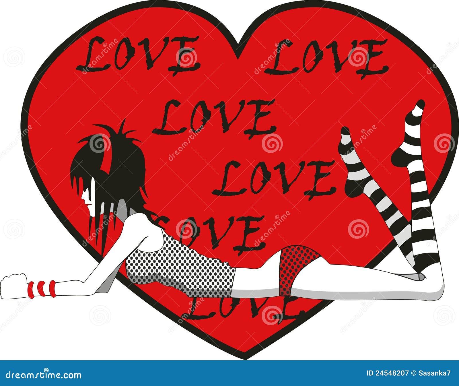Fille d 39 emo avec le coeur d 39 amour photographie stock libre de droits image 24548207 - Coeur d amoureux ...