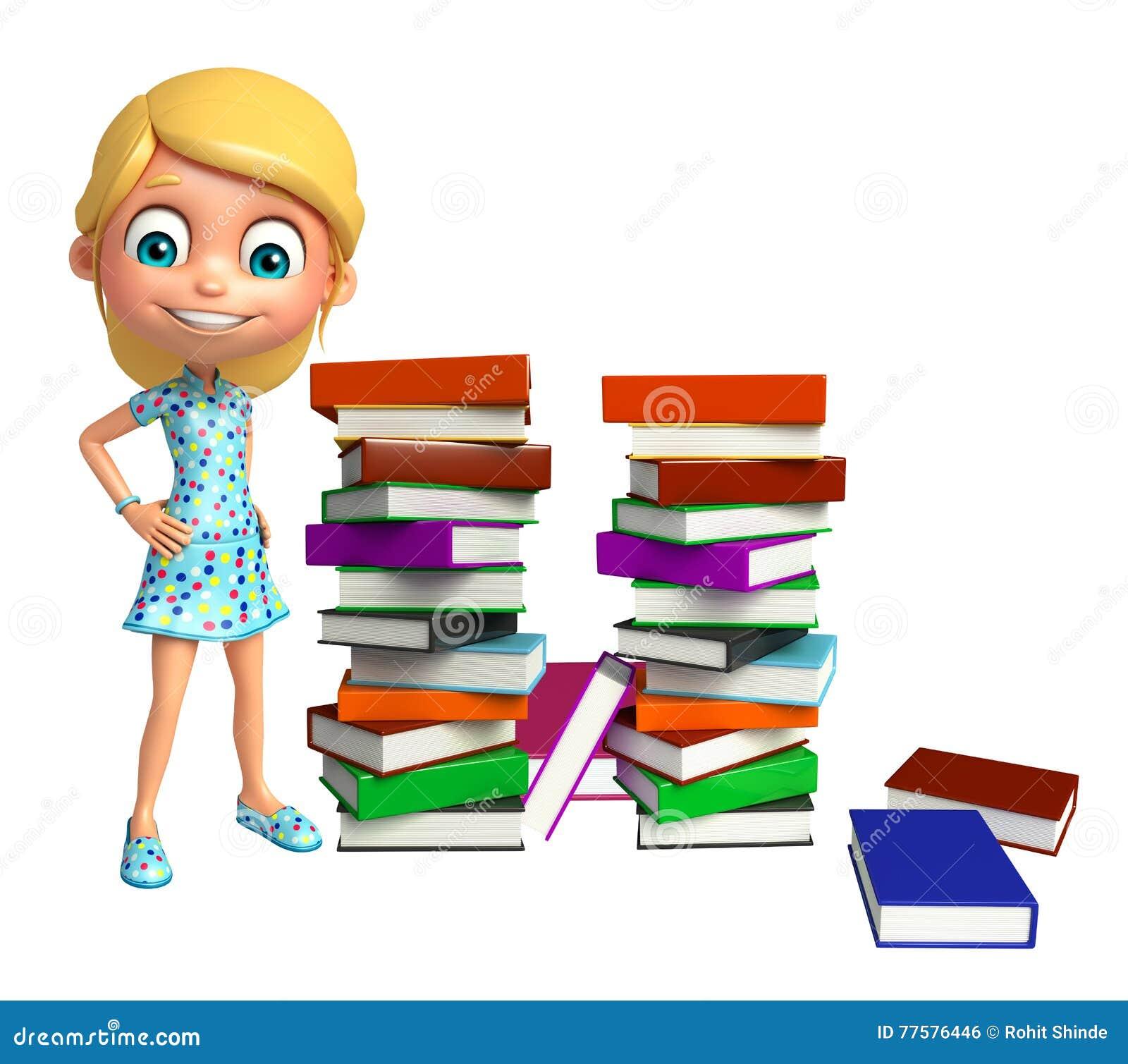 Fille D Enfant Avec La Pile De Livre Illustration Stock