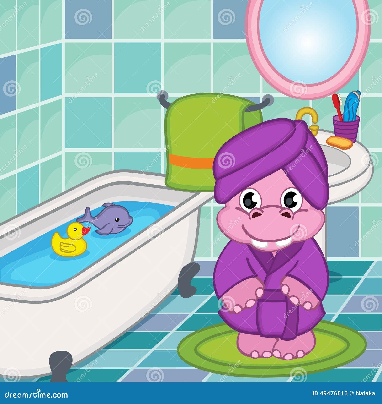 Fille d 39 hippopotame dans la salle de bains illustration de for Un gars une fille dans la salle de bain