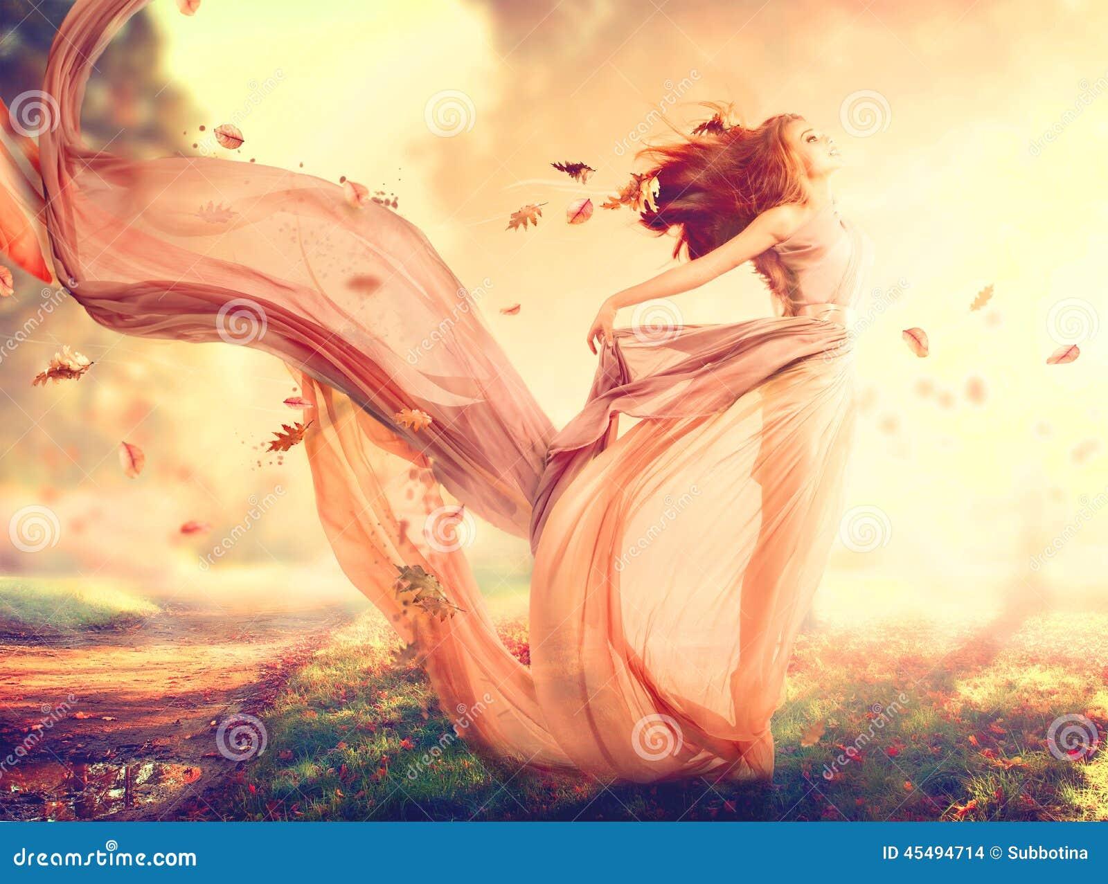Fille d imagination d automne