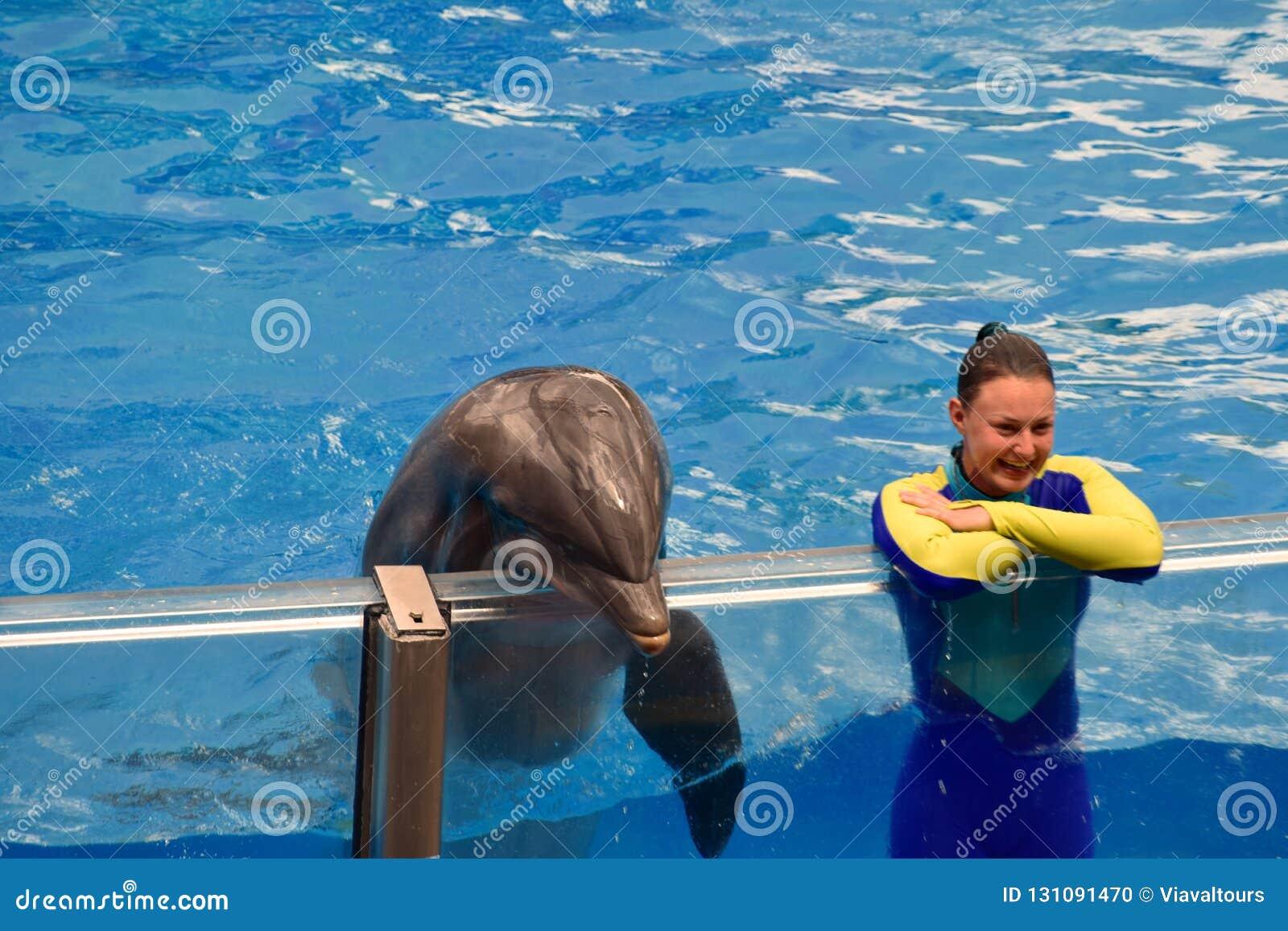 Fille d instructeur et dauphin gentil regardant le public