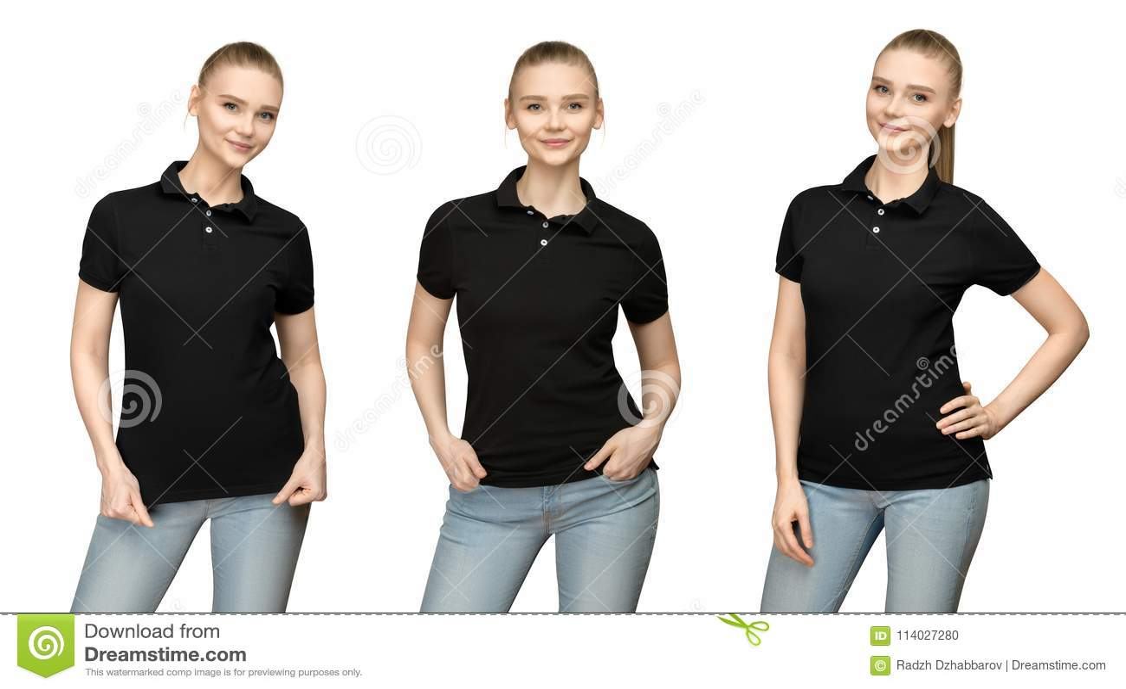 Fille dans la conception noire vide de maquette de polo pour la copie et la jeune femme de calibre dans l avant de T-shirt et la