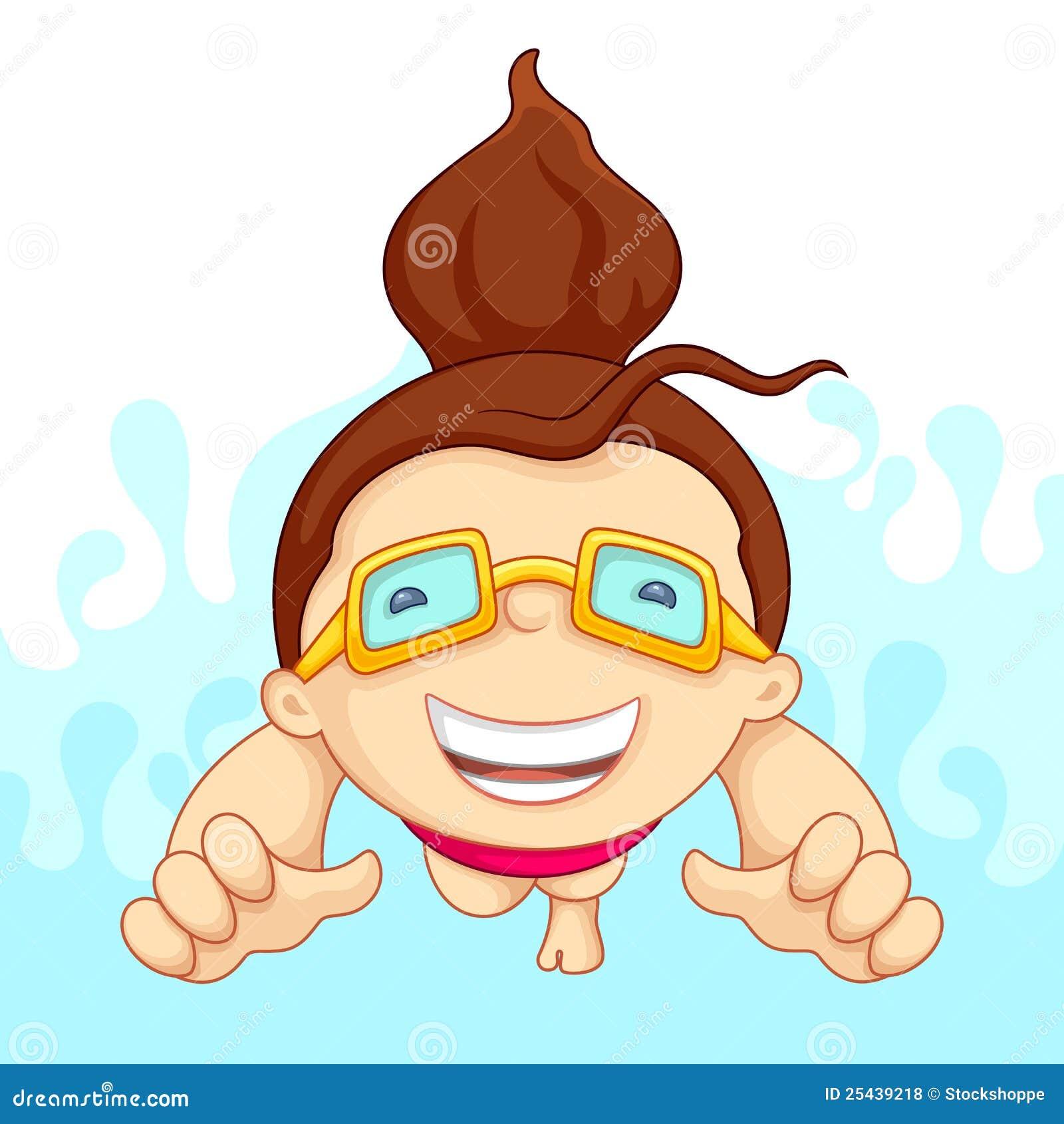 Fille dans la piscine illustration de vecteur - Clipart piscine ...