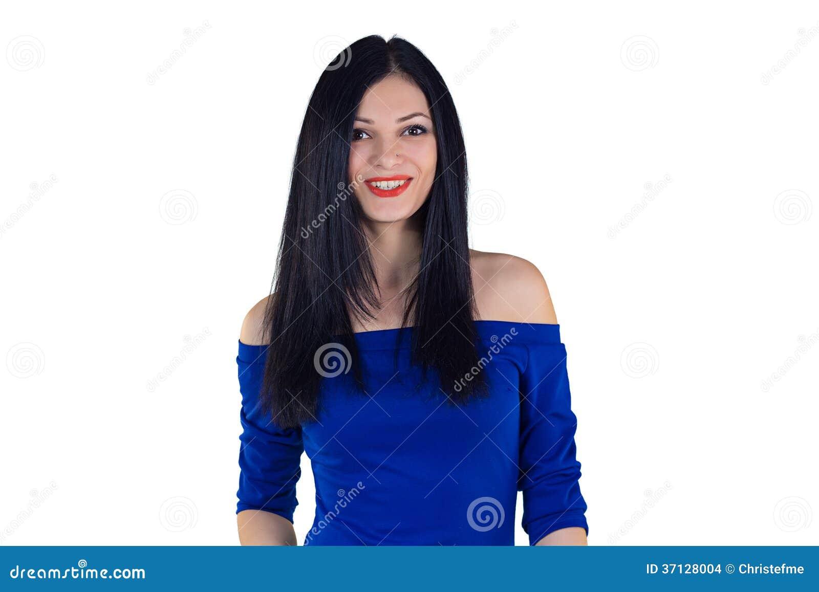 Fille dans la robe bleue