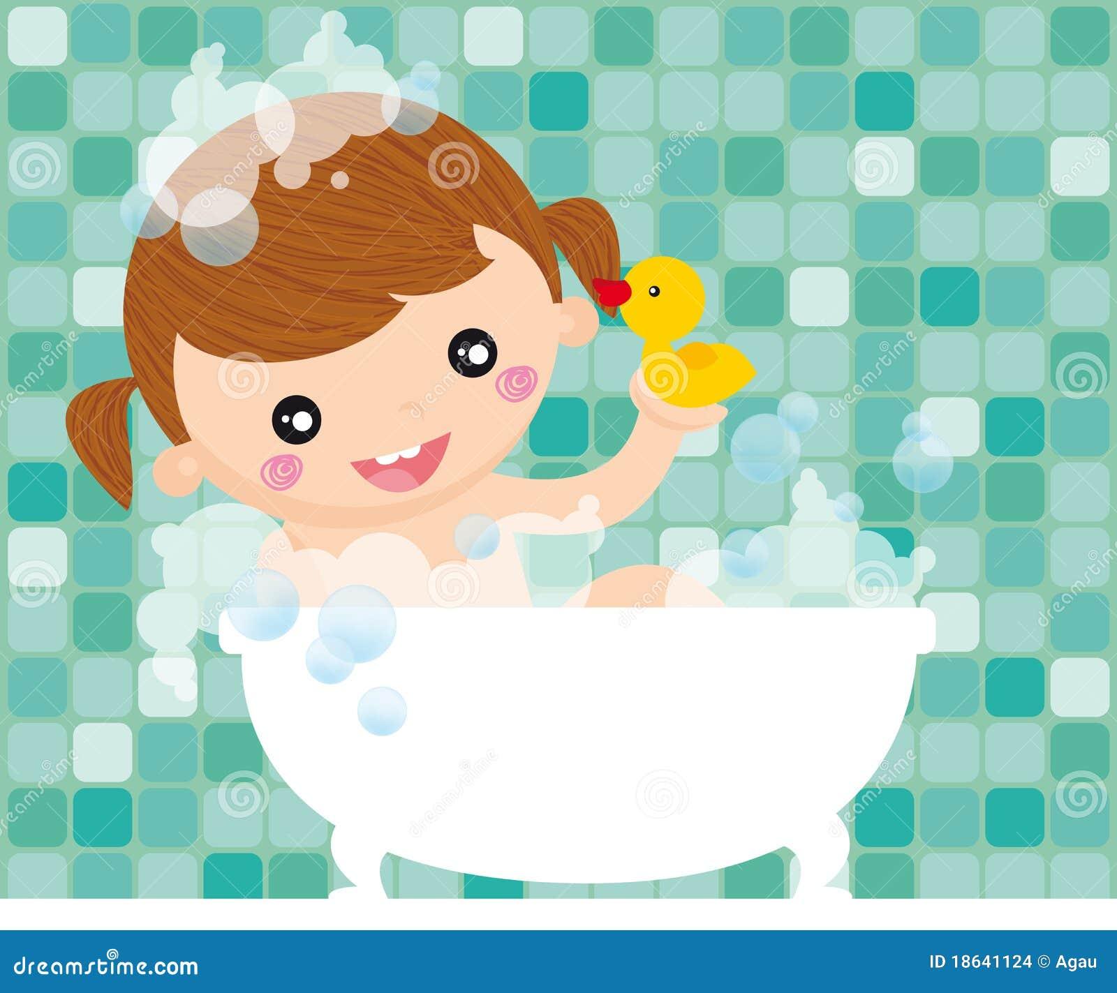 Fille dans le bain