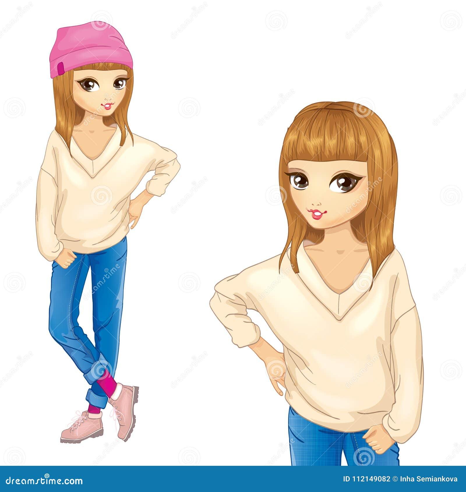 Fille dans le chandail blanc et le chapeau rose