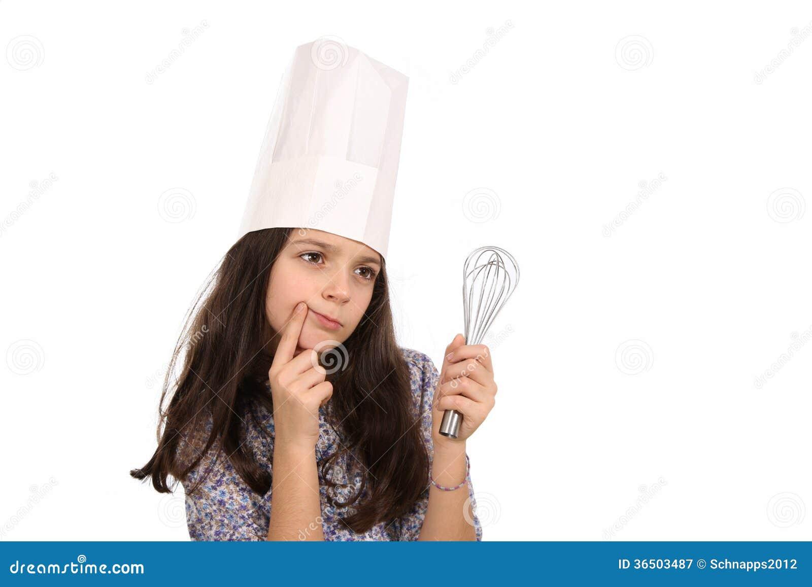 Fille dans le chapeau d un chef