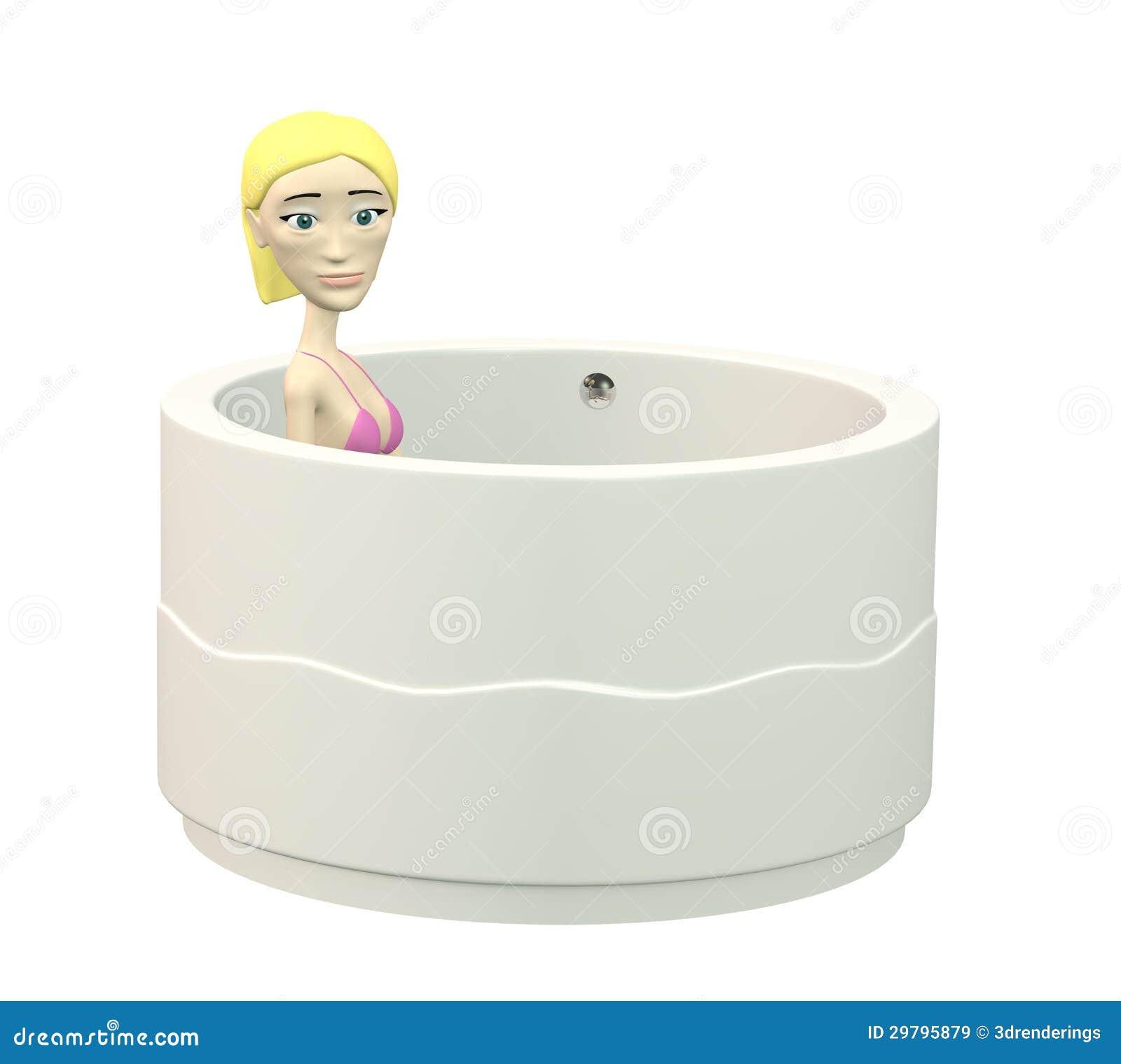 fille de bande dessin e dans la baignoire images libres de. Black Bedroom Furniture Sets. Home Design Ideas