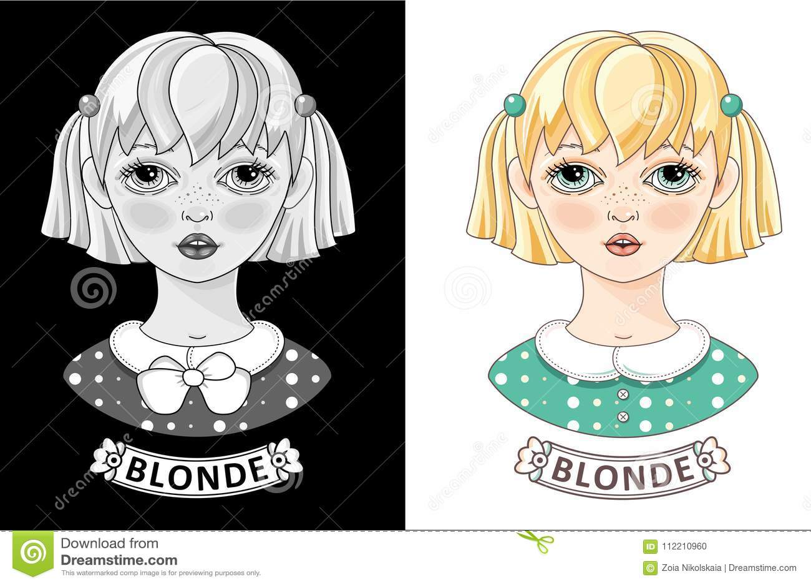 Fille De Blonde De Bande Dessinée Petit Ado Mignon Vecteur
