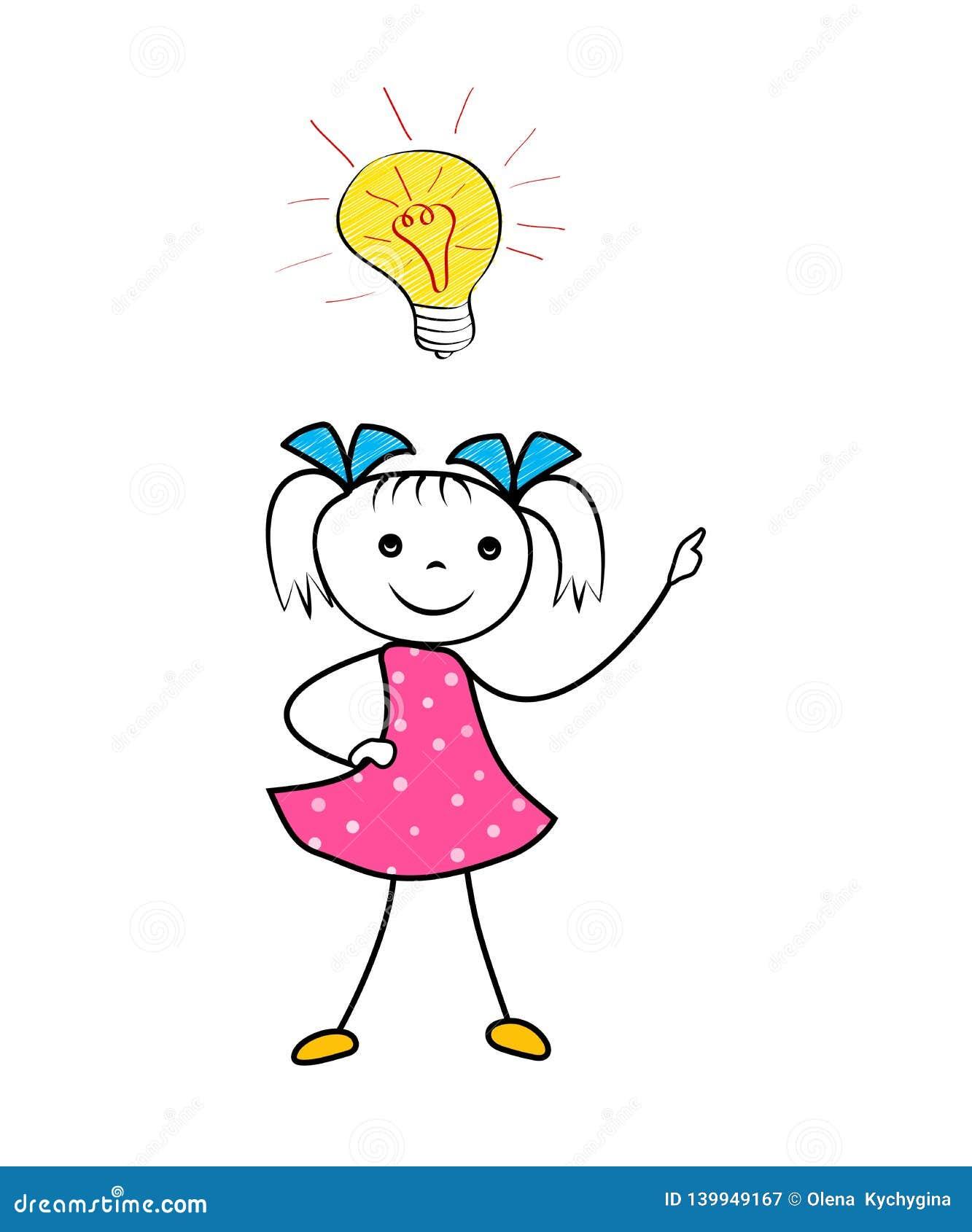 Fille De Griffonnage Avec Lampoule Innovatrice Didée