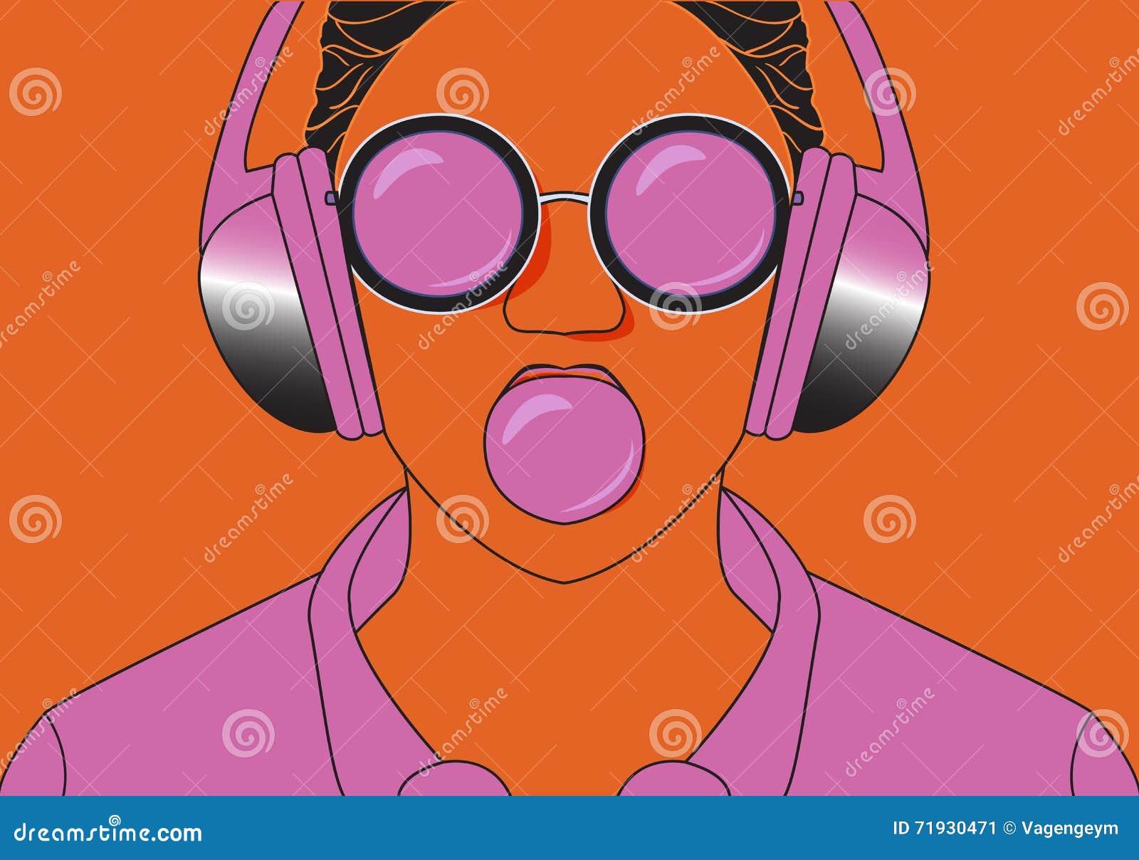 Fille de hippie écoutant la musique sur le ruminage d écouteurs et de mastications
