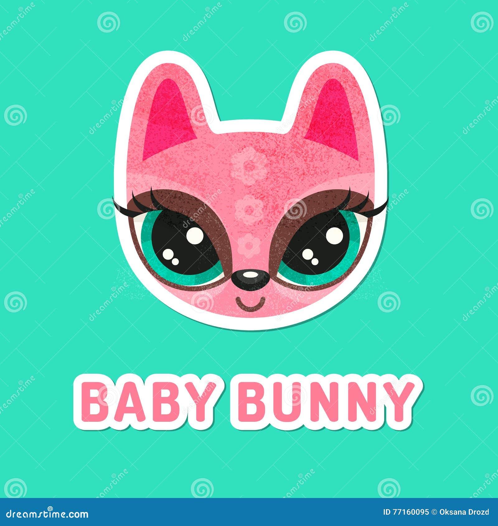 Fille de lapin rose avec les yeux extrêmement grands
