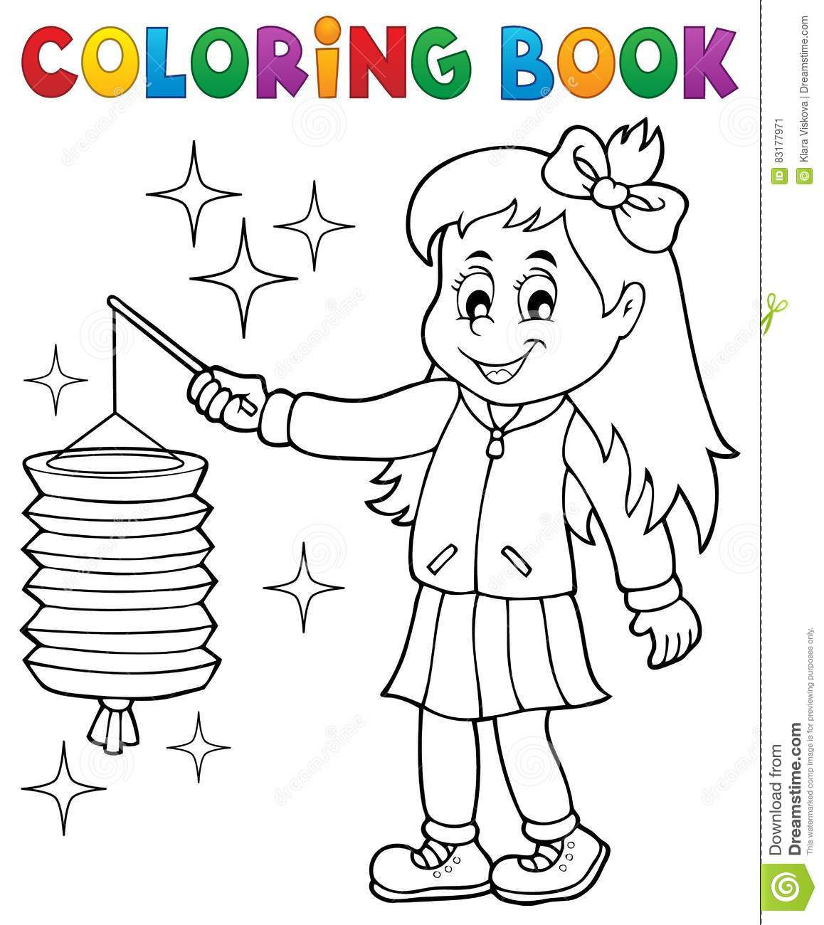 Fille de livre de coloriage avec le lampion illustration de vecteur illustration du dessin - Dessin lampion ...
